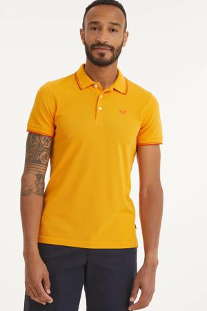 regular fit polo met contrastbies oranje