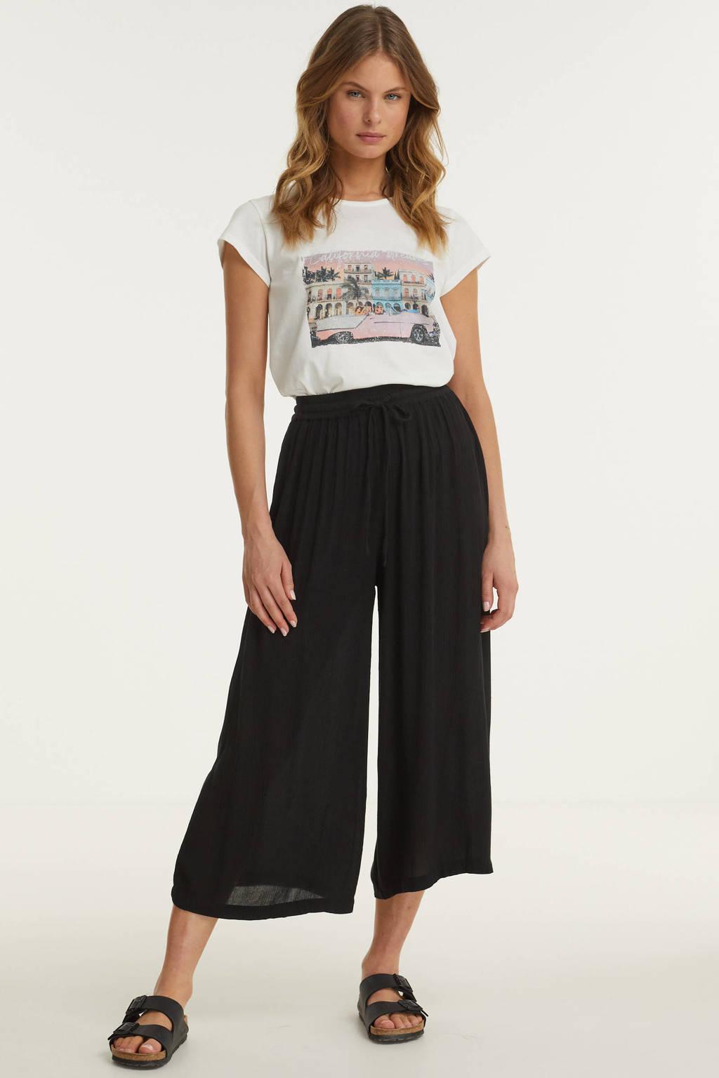 BEACHWAVE t-shirt met knoopdetail en printopdruk, Ecru