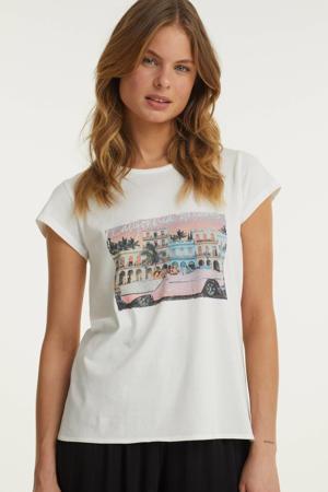 t-shirt met knoopdetail en printopdruk