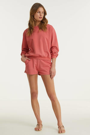 sweater met faded wash oudroze