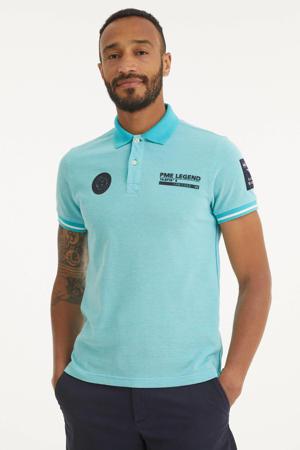 gemêleerde slim fit polo met contrastbies turquoise