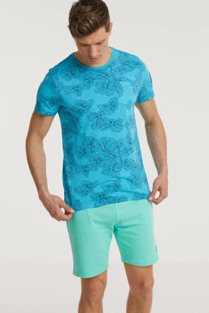 T-shirt met all over print turquoise