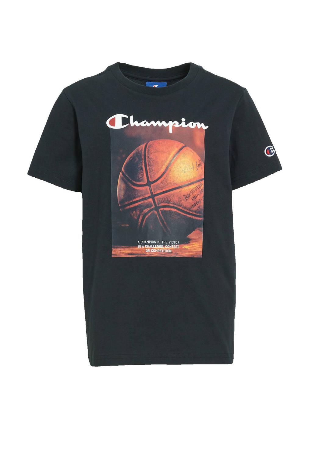 Champion T-shirt met printopdruk zwart, Zwart