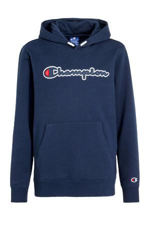 hoodie met logo en borduursels donkerblauw/rood/wit