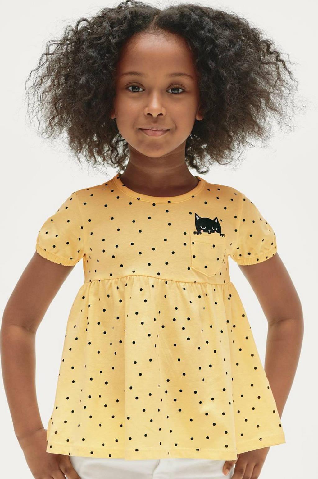 Ellos top Olivia met stippen en plooien geel/zwart, Geel/zwart
