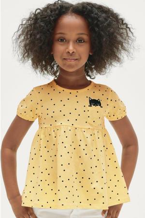 top Olivia met stippen en plooien geel/zwart