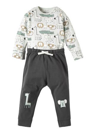 baby romper met broek met printopdruk donkerblauw/mintgroen