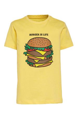 T-shirt Liam met printopdruk geel