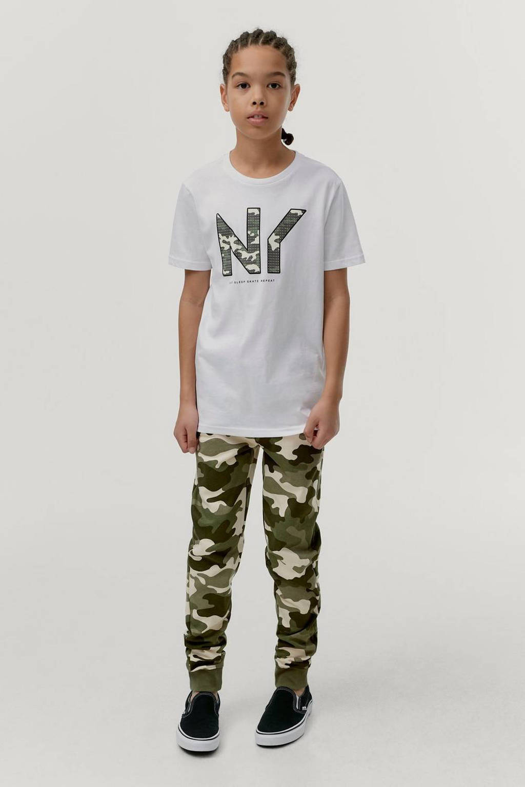 Ellos T-shirt Jonah met printopdruk wit, Wit
