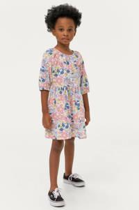 Ellos jurk Aubrey met all over print en plooien roze/blauw/geel, Roze/blauw/geel