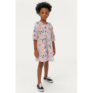 jurk Aubrey met all over print en plooien roze/blauw/geel