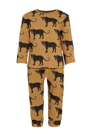 baby longsleeve + broek met allover print bruin/zwart