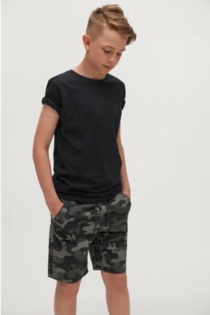 short Otto met camouflageprint zwart/grijs