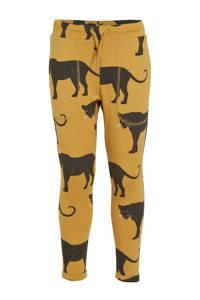 Ellos slim fit broek Alex met dierenprint oker/zwart, Oker/zwart
