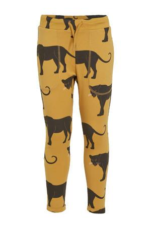 slim fit broek Alex met dierenprint oker/zwart
