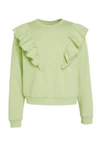 Ellos sweater Leslie met ruches fris groen, Fris groen
