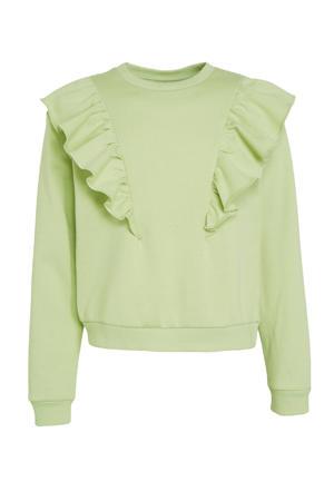 sweater Leslie met ruches fris groen
