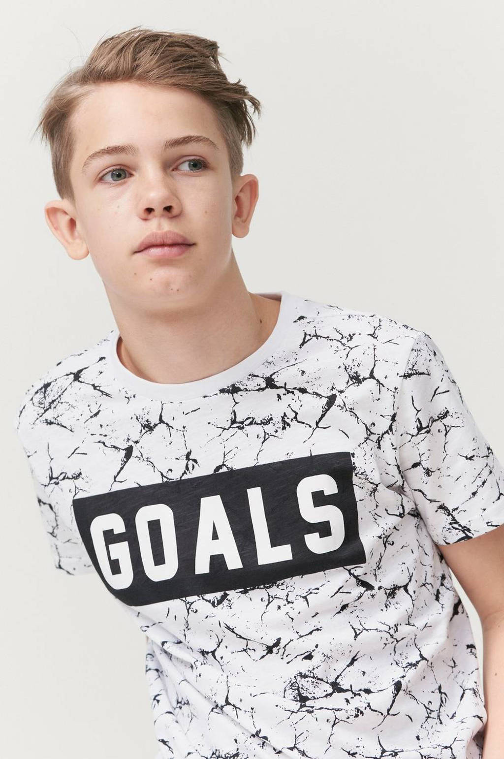 Ellos T-shirt Jonah met all over print wit/zwart, Wit/zwart