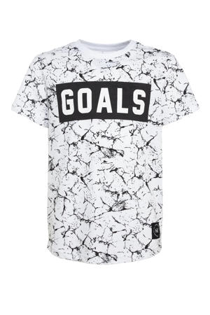 T-shirt Jonah met all over print wit/zwart
