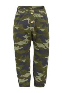Ellos baby slim fit broek Qwen met camouflageprint groen, Groen