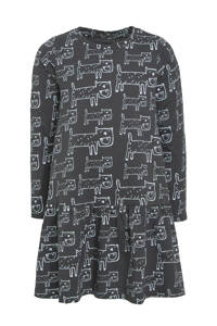 Ellos A-lijn jurk Chloe met all over print zwart/wit, Zwart/wit