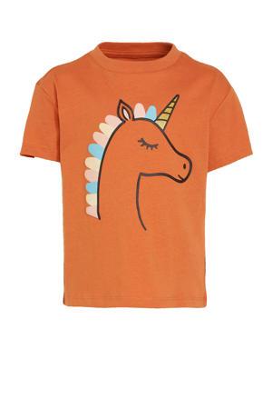 T-shirt Emma met dierenprint oranje
