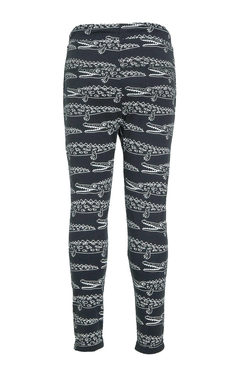 Ellos slim fit broek Alex met dierenprint zwart/wit, Zwart/wit
