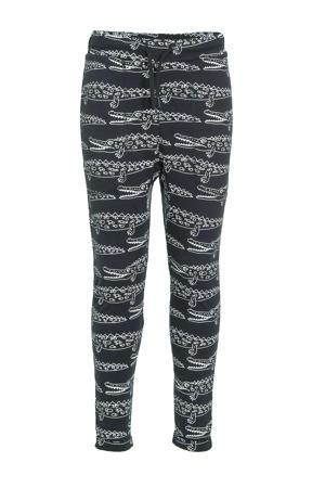 slim fit broek Alex met dierenprint zwart/wit