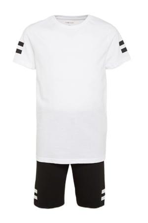 T-shirt + korte broek zwart/wit