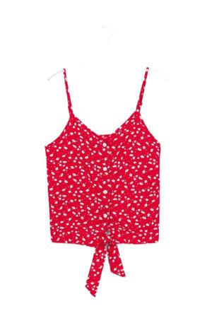 top Vanessa met all over print rood/wit