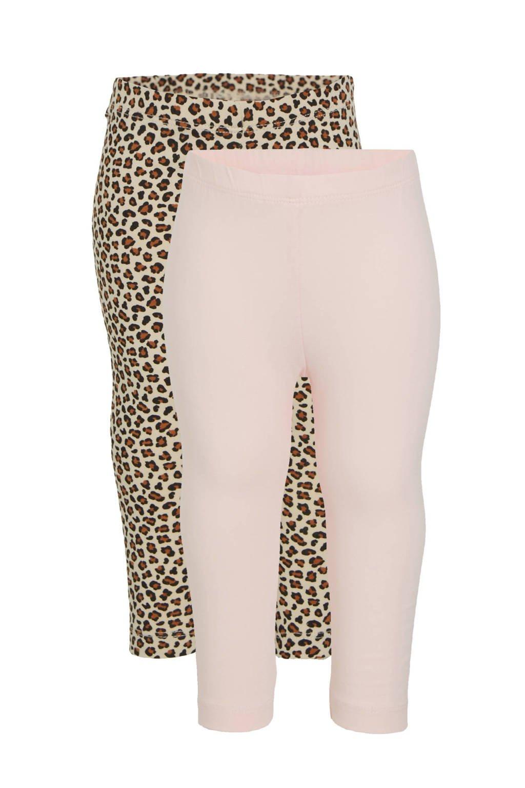 Ellos baby legging Ambe met all over print roze-lichtbruin/zwart - (set van 2), Roze-lichtbruin/zwart