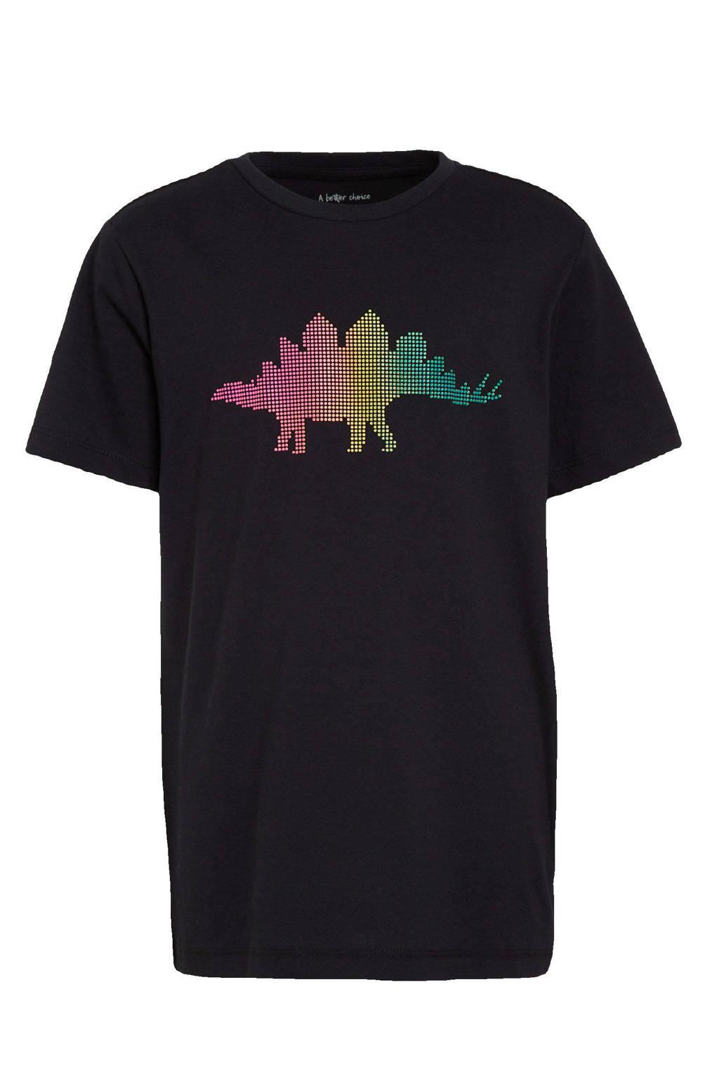 Ellos T-shirt Liam met printopdruk zwart, Zwart