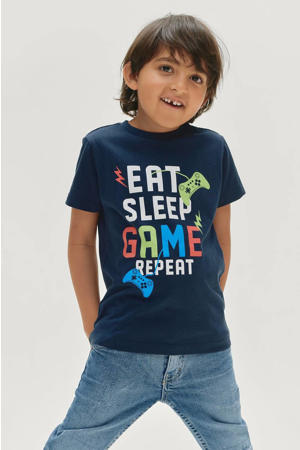 T-shirt Liam met printopdruk donkerblauw