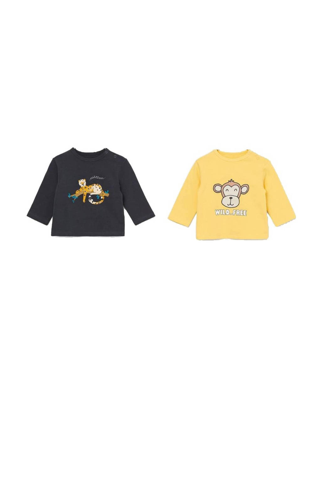 Ellos baby longsleeve - set van 2 met print geel/donkerblauw, Geel/donkerblauw