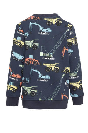 sweater Henry met all over print donkerblauw/multicolor