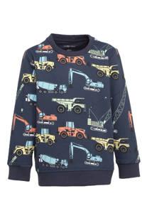 Ellos sweater Henry met all over print donkerblauw/multicolor, Donkerblauw/multicolor