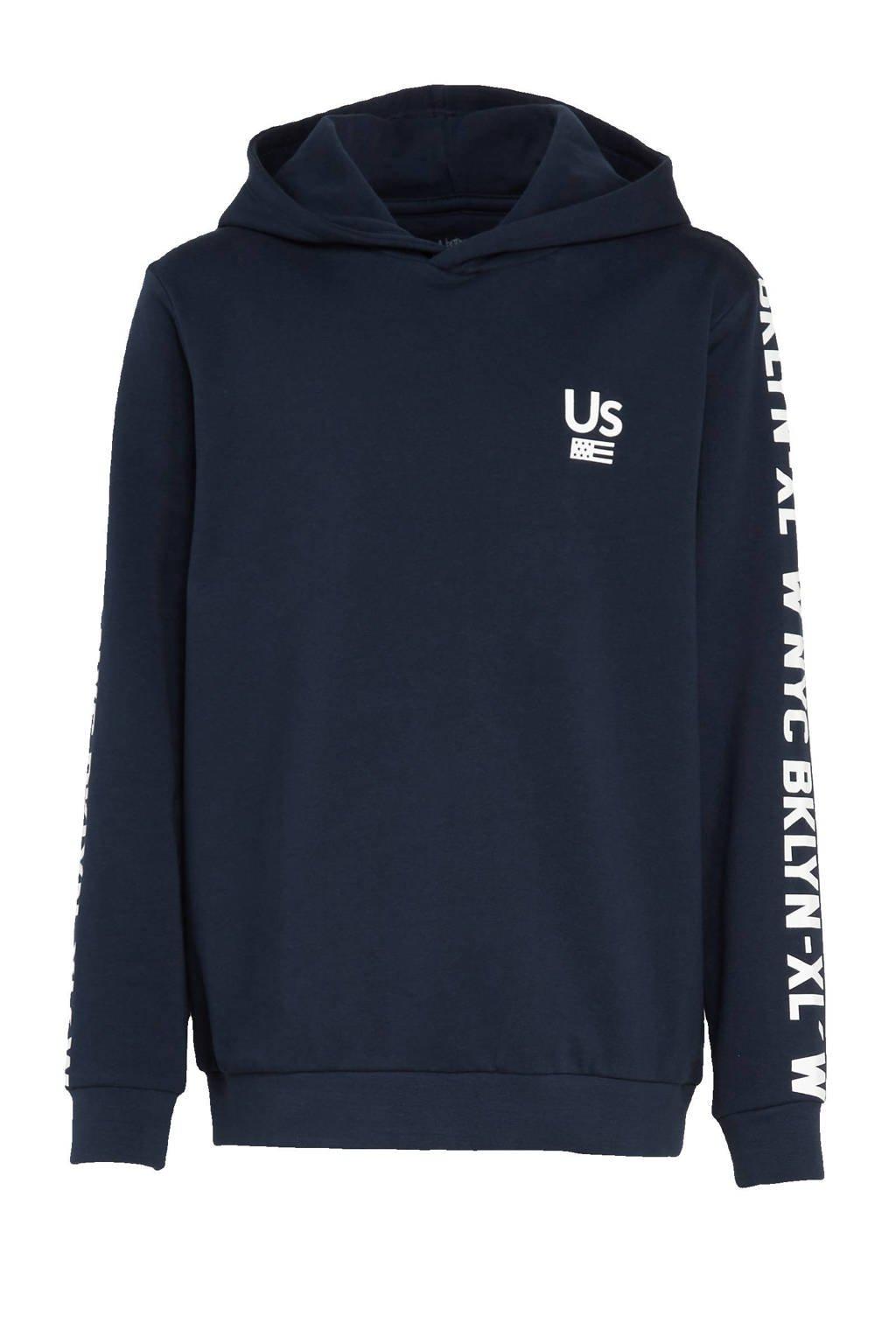 Ellos hoodie Eric met tekst donkerblauw/wit, Donkerblauw/wit