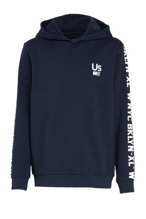 hoodie Eric met tekst donkerblauw/wit