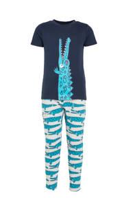 Ellos broek + T-shirt krokodil blauw, Blauw