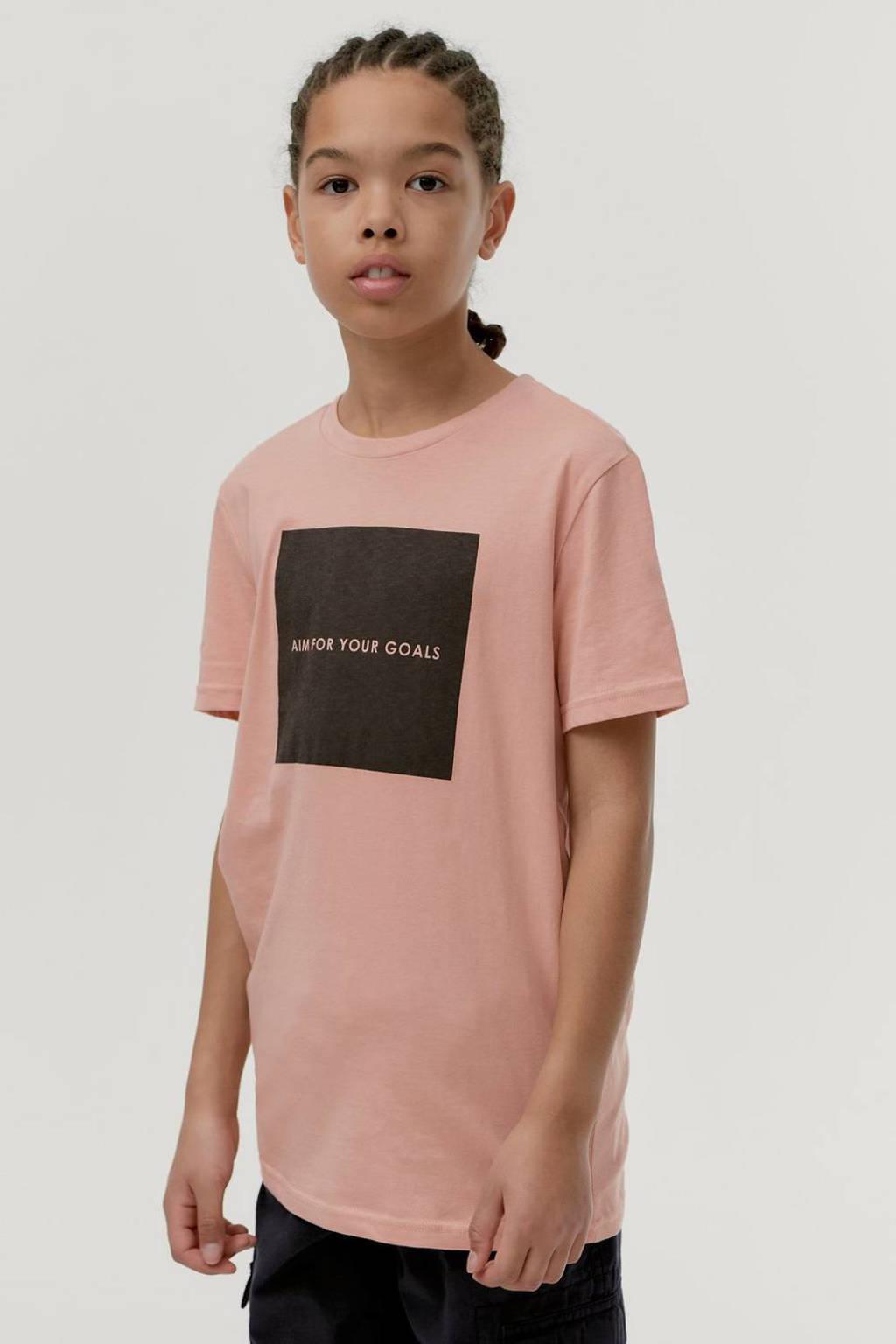 Ellos T-shirt Jonah met printopdruk roze/zwart, Roze/zwart