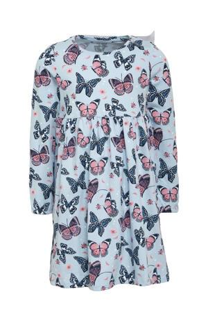 A-lijn jurk met all over print lichtblauw/roze/blauw
