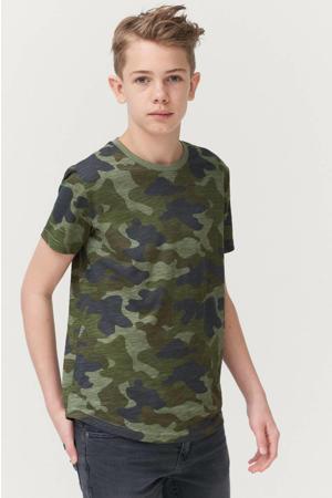T-shirt Jonah met camouflageprint donkergroen/groen