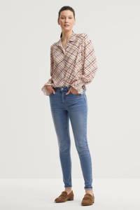 anytime geruite blouse multi, Beige/multi