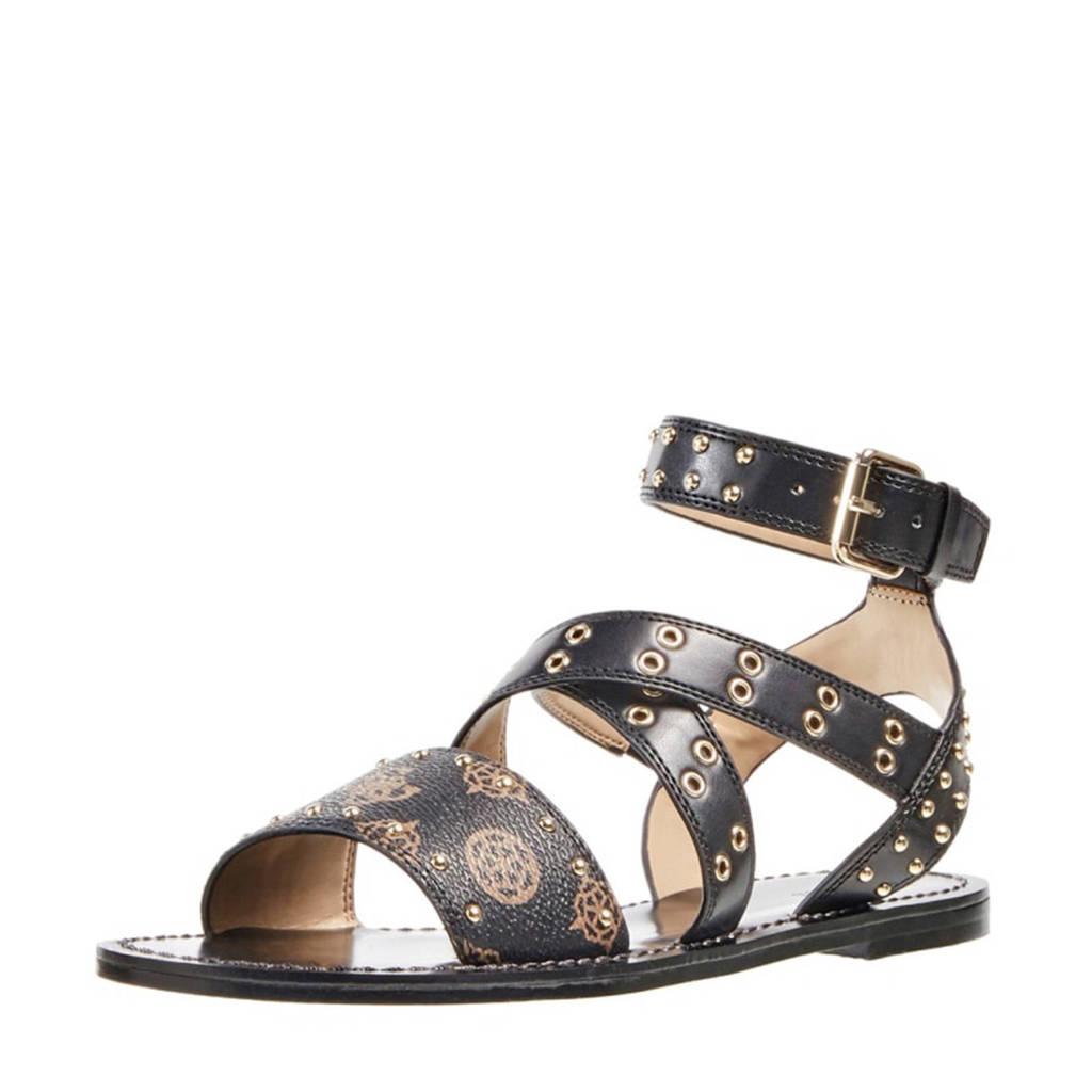 GUESS Cevie 2  sandalen met studs zwart/bruin, Zwart/bruin
