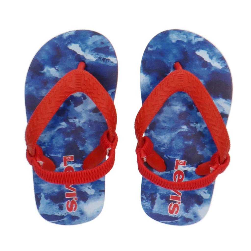 Levi's Kids South Beach Mini  teenslippers met camouflageprint rood/blauw, Rood/blauw