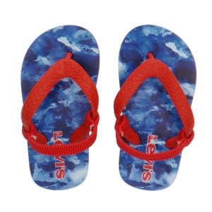 Levi's Kids South Beach Mini  teenslippers met camouflageprint rood/blauw