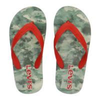 Levi's Kids South Beach K teenslippers met camouflageprint rood/groen, Rood/groen