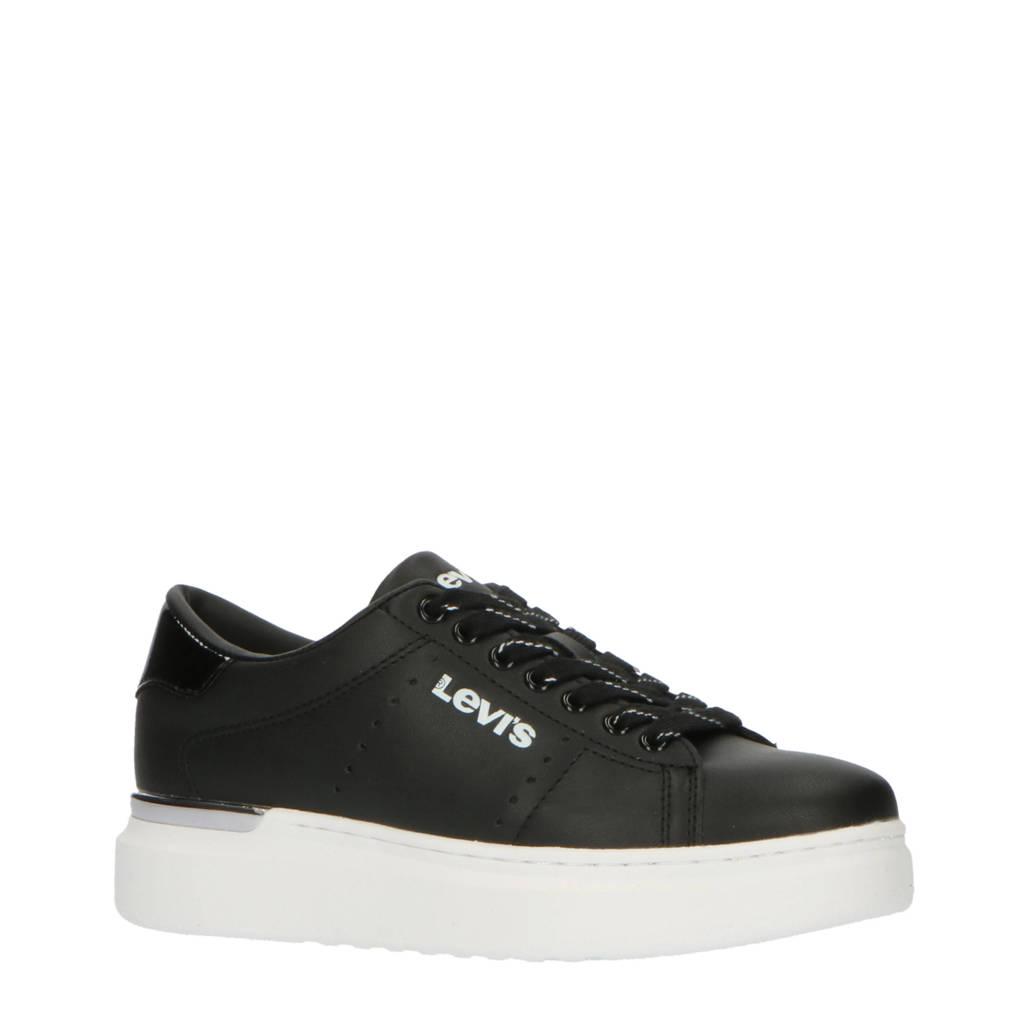 Levi's Kids Ellix Max T  leren plateau sneakers zwart, Zwart
