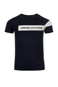 COMMON HEROES T-shirt Tim van biologisch katoen donkerblauw/wit, Donkerblauw/wit