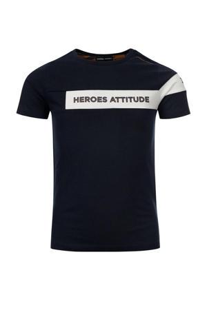 T-shirt Tim van biologisch katoen donkerblauw/wit